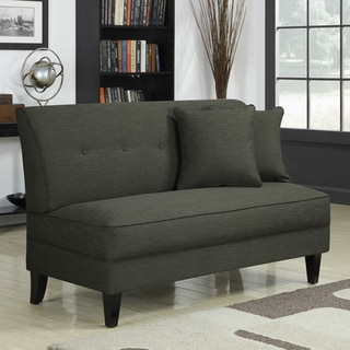 Portfolio Engle Charcoal Gray Linen Armless Loveseat