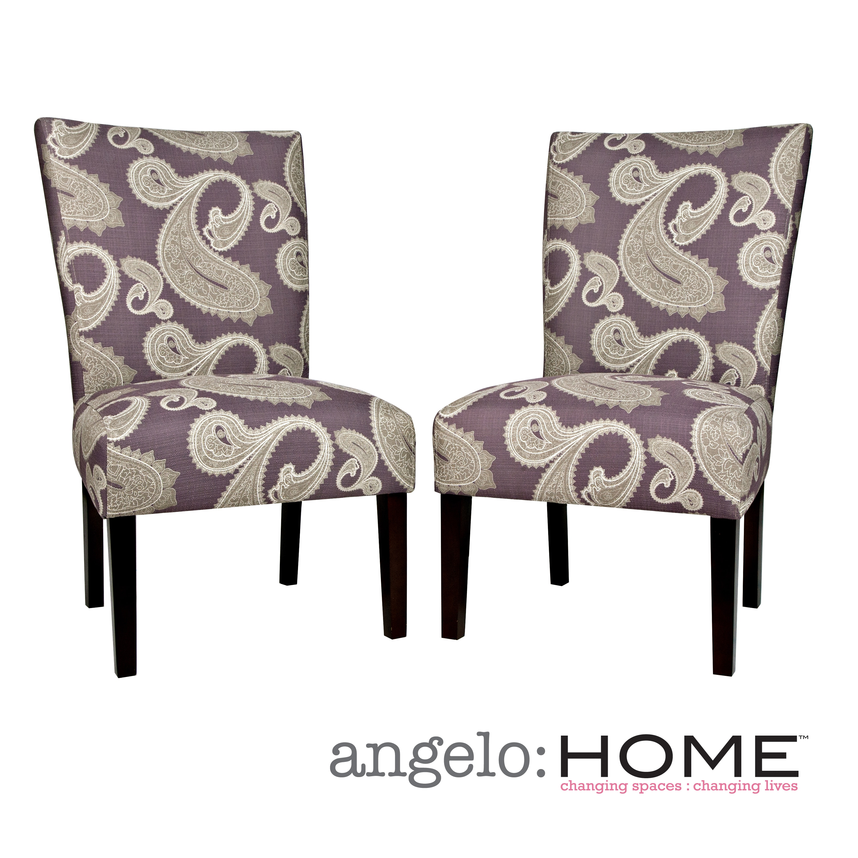 angelo:HOME Bradford Feathered Paisley Amethyst Purple Upholstered Armless Dining Chairs (Set of 2)