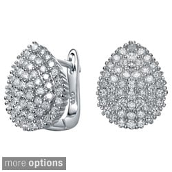 Collette Z Sterling Silver Clear Cubic Zirconia Pear-shaped Cuff Earrings