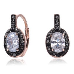Collette Z Rose Goldplated Sterling Silver White and Black Cubic Zirconia Earrings