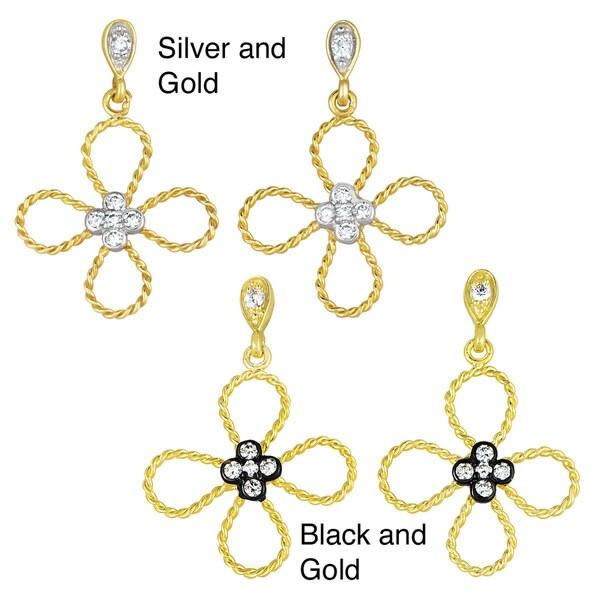 Collette Z Sterling Silver Clear Cubic Zirconia Flower High-Polish Drop Earrings