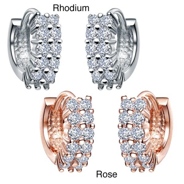 Collette Z Sterling Silver Clear Cubic Zirconia Two-row Cuff Earrings