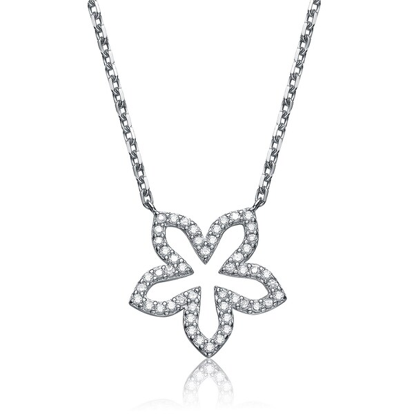 Collette Z Sterling Silver Cubic Zirconia Flower Necklace