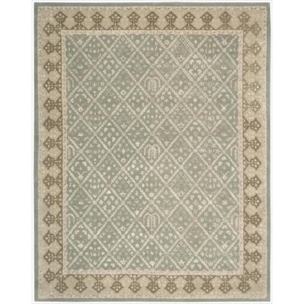 Nourison Hand-tufted Symphony Diamond Pattern Light Green Rug (9'6 x 13'6)