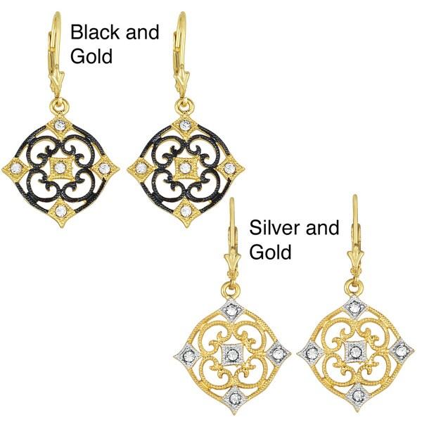 Collette Z Sterling Silver Clear Cubic Zirconia Flower Drop Earrings