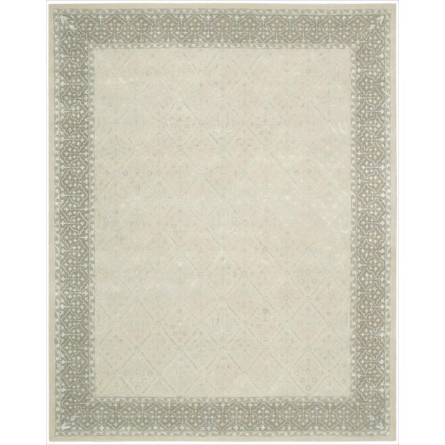 Nourison Hand-tufted Symphony Brocade Bordered Sand Rug (9'6 x 13'6)
