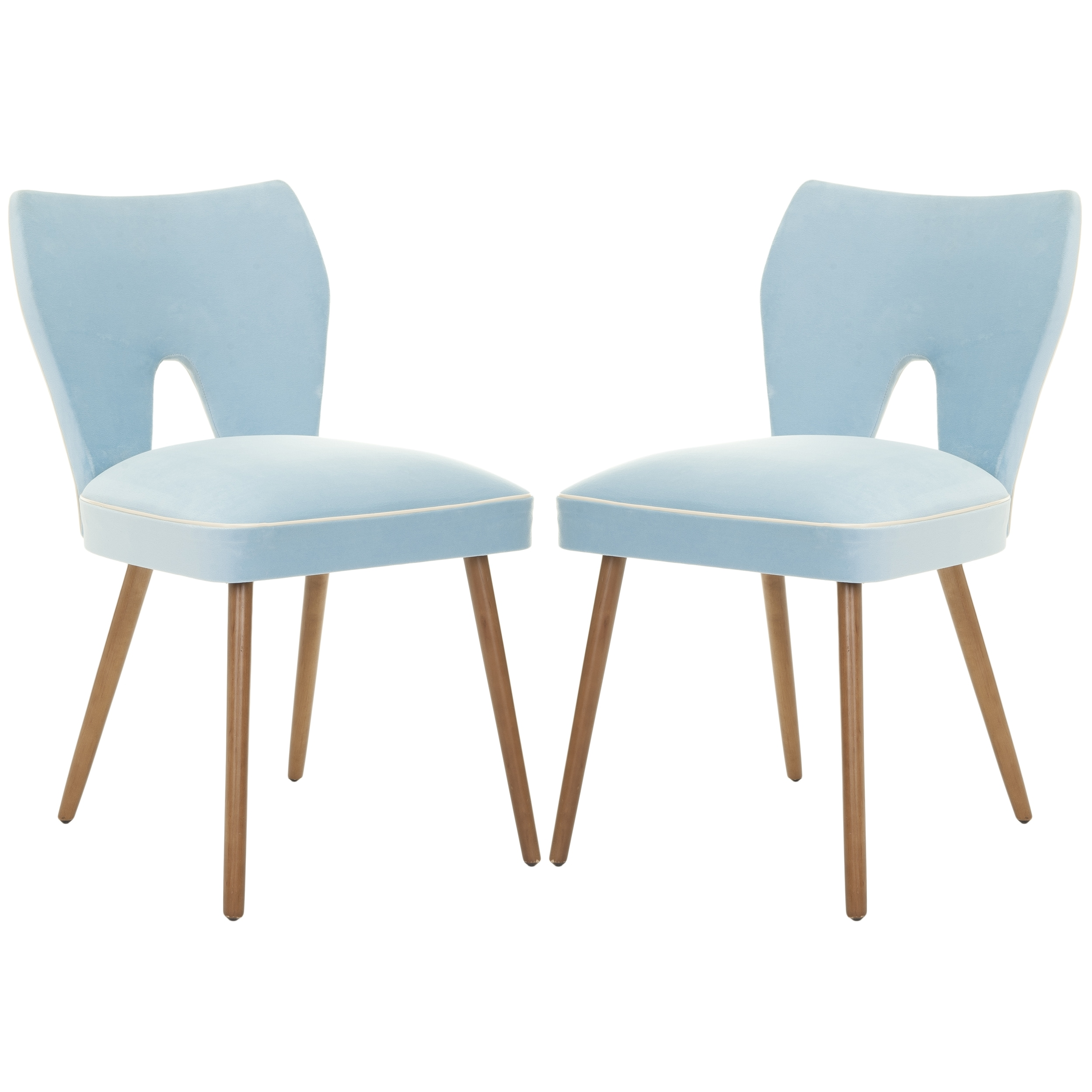 Safavieh Retro Blue Velvet Blend Side Chair (Set of 2)