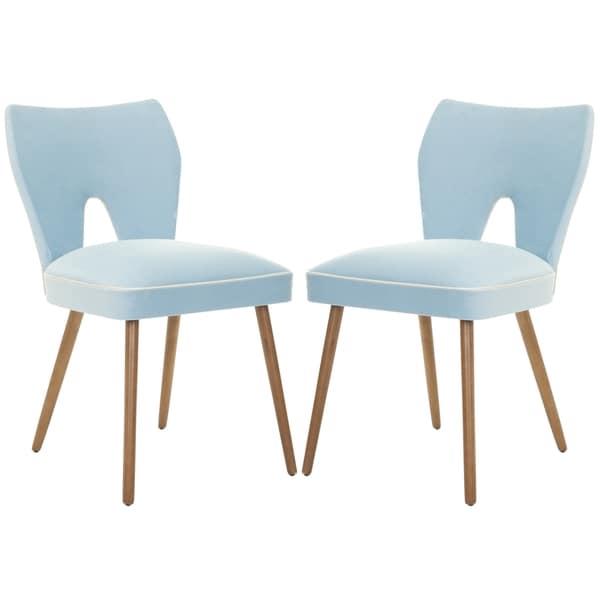 Safavieh Metropolitan Dining Retro Blue Velvet Blend Side Chairs (Set of 2)