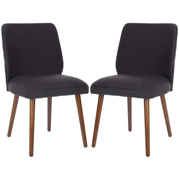 Safavieh Retro Brown Linen Blend Side Chairs (Set of 2)