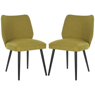 Safavieh Metropolitan Dining Retro Nail head Green Linen Blend Side Chairs (Set of 2)