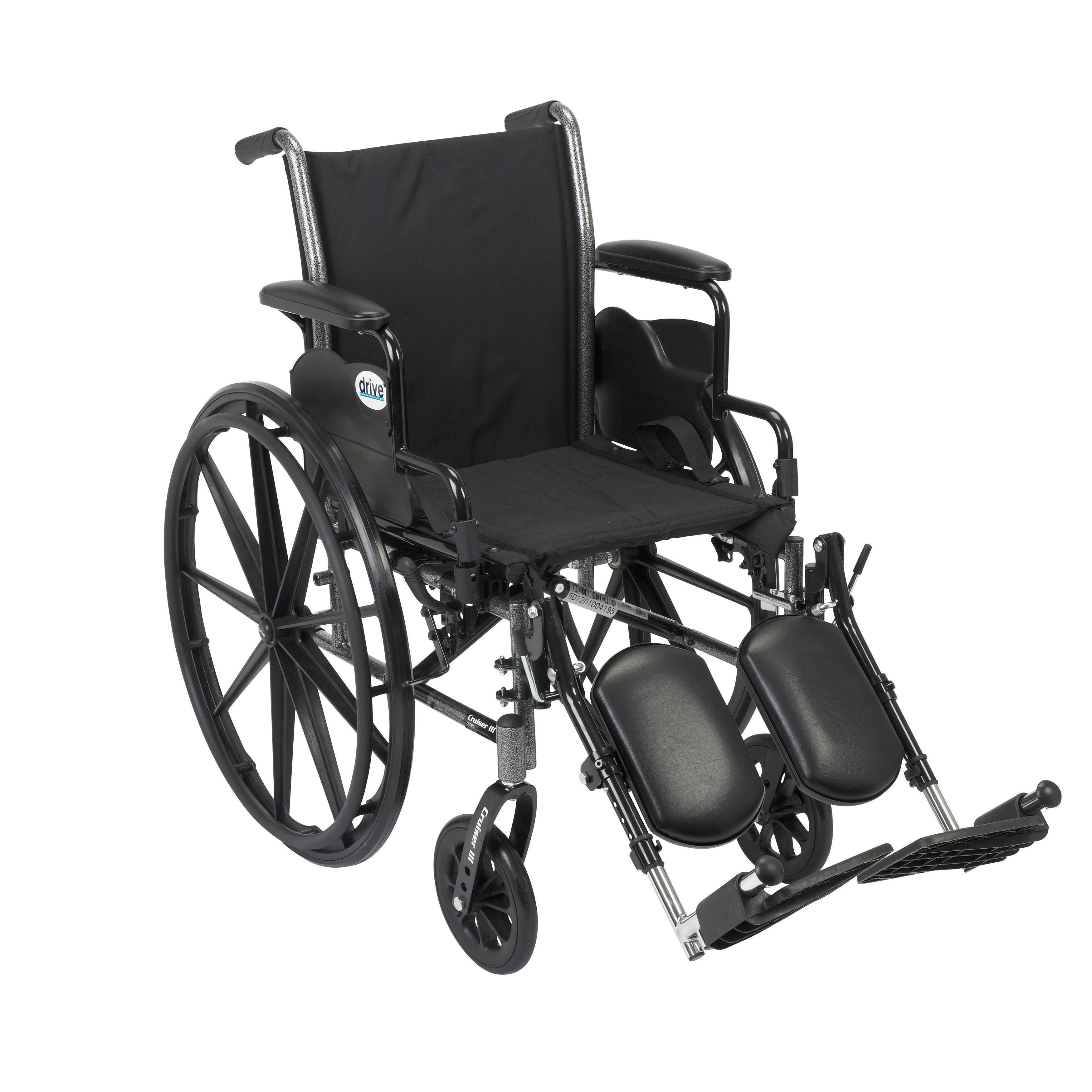 Cruiser III Lightweight Wheelchair with Flip Back Arms and Front Rigging Options