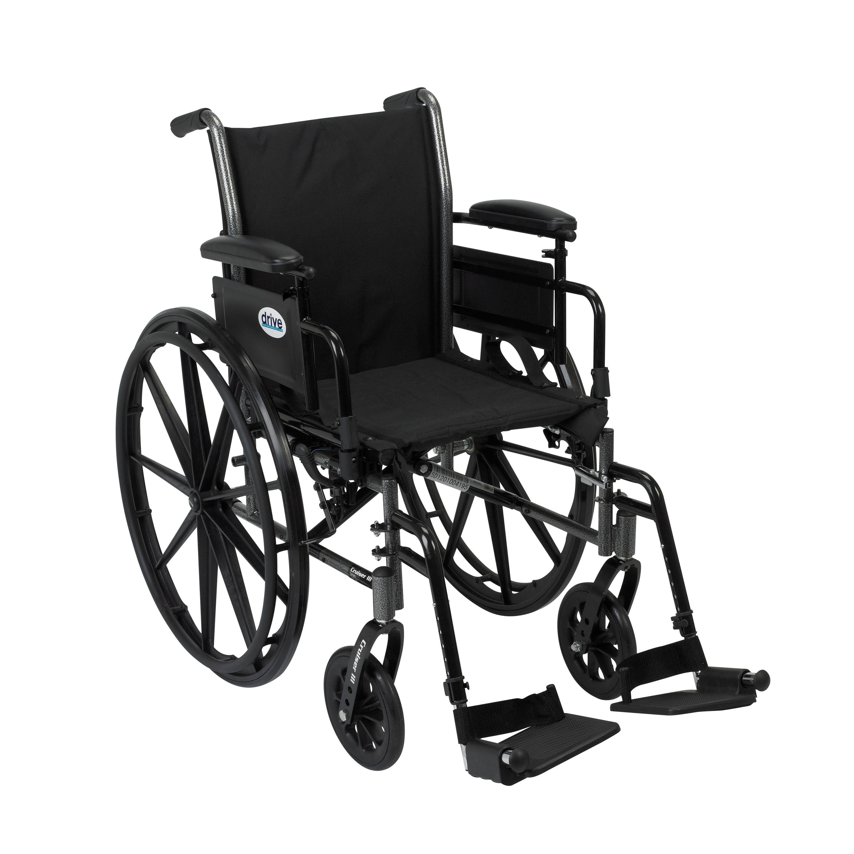 Cruiser III Lightweight Wheelchair with Various Flip Back Arm Styles and Front Rigging Options