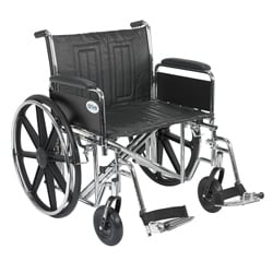 Sentra EC Heavy Duty Wheelchair with Detachable Full Arms and Swing-away Footrests