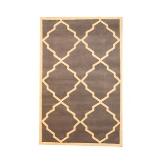 Indo Hand-tufted Gray/ Ivory Wool Rug (5' x 8')