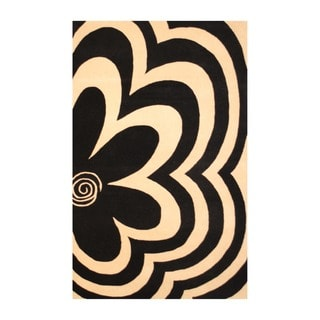 Indo Hand-Tufted Black/Ivory Floral Wool Rug (5' x 8')