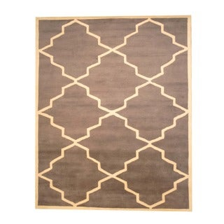 Indo Hand-Tufted Gray/Ivory Wool Area Rug (8' x 10')