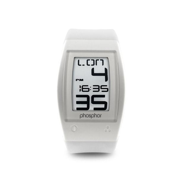 Phosphor Men's White World Time Sport E-Ink Digital Watch
