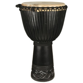 Black Hand Carved Professional Level Djembe Drum (Indonesia)