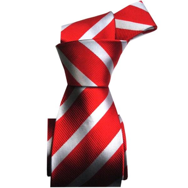 Dmitry Men's Italian Red Striped Silk Tie