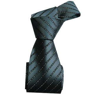 Dmitry Men's Italian Grey Striped 100 Percent Silk Tie