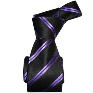 Dmitry Men's Italian Black Striped Silk Tie