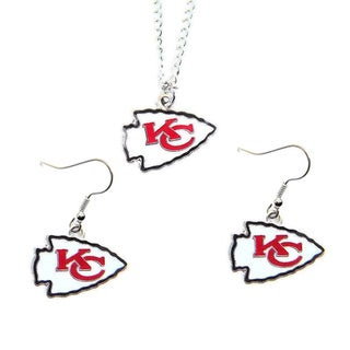 Kansas City Chiefs Necklace and Dangle Earings Charm Set