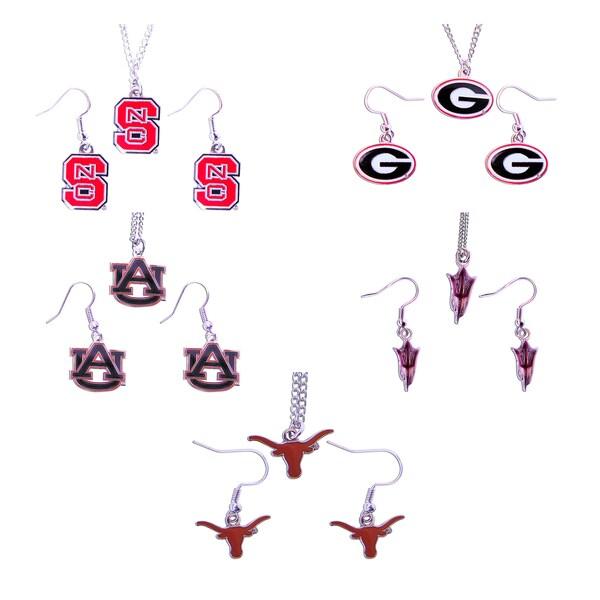 Aminco NCAA Necklace and Dangle Earring Charm Set