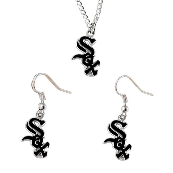 Chicago White Sox Necklace and Dangle Earings Charm Set
