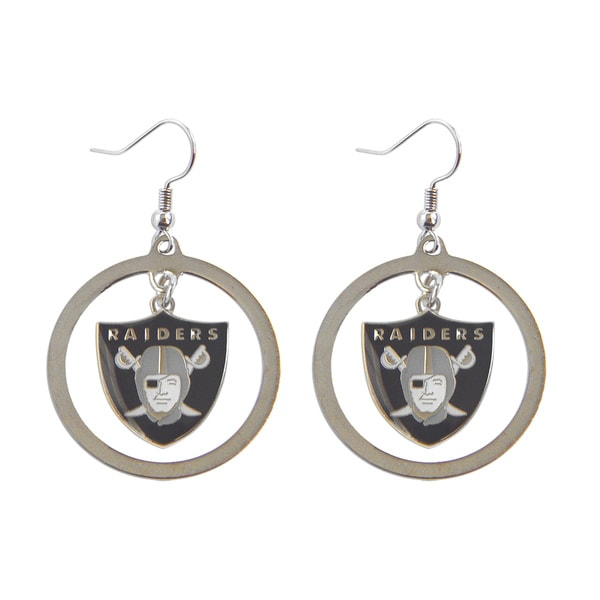 Aminco Oakland Raiders Dangle Logo Earrings Set