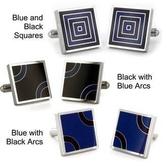West Coast Jewelry Stainless Steel Blue and Black Patterned Cufflinks