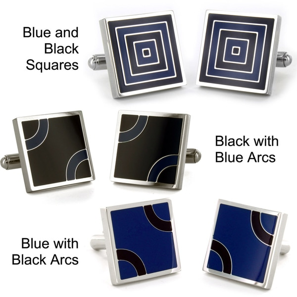 Stainless Steel Blue and Black Patterned Cufflinks