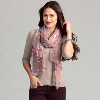KC Signatures Women's Floral Crinkled Gauze Scarf