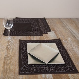 Hand-beaded Square Chocolate Placemats (Set of 4)