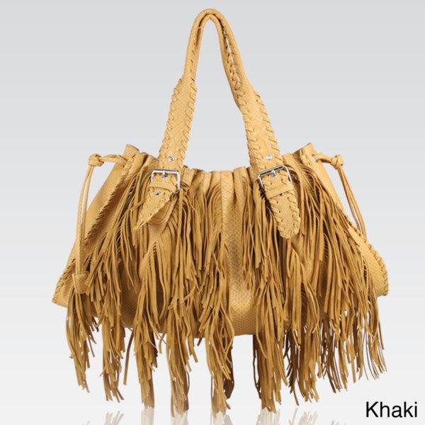 Galian Suede Fringed Shoulder Bag