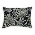 Navy Leaf Print Reversible Pillow