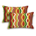 Red Wave Print Pillows (Set of 2)
