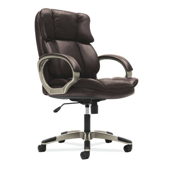 basyx by HON Brown Managerial Mid-Back Chair with Loop Arms