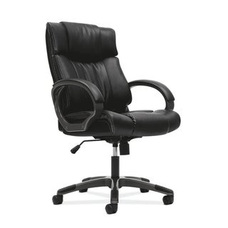 basyx by HON Black Managerial Mid-Back Chair with Loop Arms