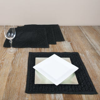 Hand-beaded Black Square Placemats (Set of 4)