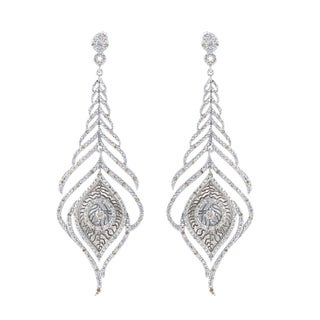Sterling Silver 1/2ct TDW Diamond Feather Earrings (J-K, I2-I3)