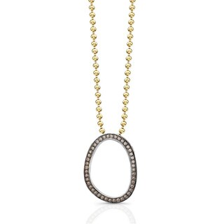 Sterling Silver 1/4ct TDW Brown Diamond Oval Necklace