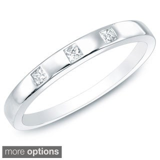 10k White or Yellow Gold Princess Diamond Wedding Band