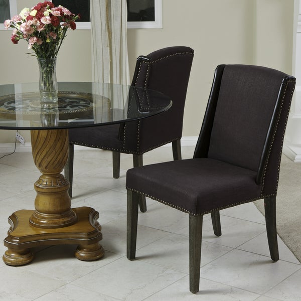 Christopher Knight Home Mullaly Leather and Fabric Dining Chairs (Set of 2)
