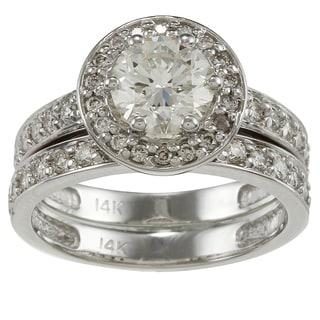 Auriya 14k White Gold 2 1/4ct TDW Certified Diamond Bridal Ring Set (H-I, SI1-SI2)