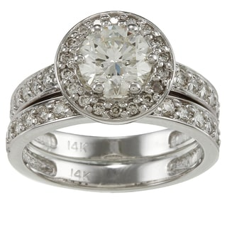 Auriya 14k White Gold 2 1/4ct TDW Certified Diamond Bridal Ring Set (H-I, SI1-SI2)