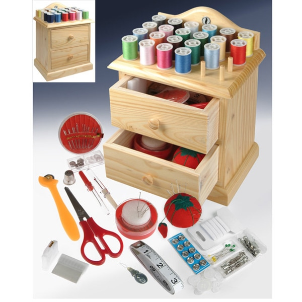 Wooden Sewing Chest with Accessories