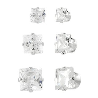 Tressa Sterling Silver CZ Princess-Cut Stud Earring Set (3 Pair)