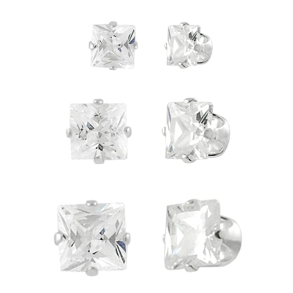 Journee Collection Sterling Silver CZ Princess-Cut Stud Earring Set (3 Pair)