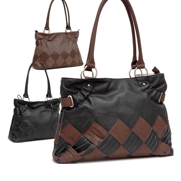 Dasein Stitch Faux Leather Tote Bag