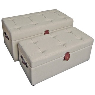 International Caravan Tufted Fabric Trunks/ Benches (Set of 2)